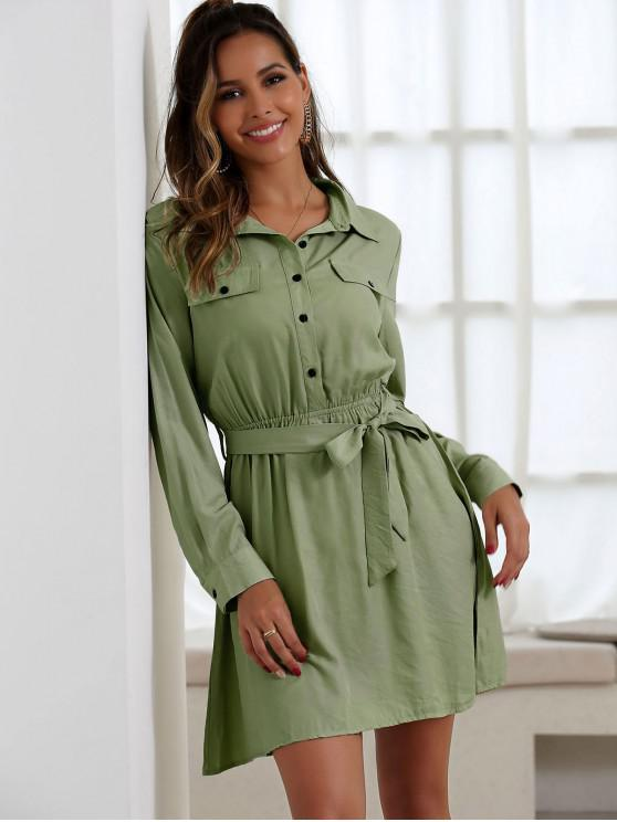 fancy Half Button Belted Mini Dress - ARMY GREEN S