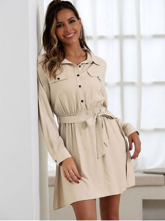 ladies Half Button Belted Mini Dress - LIGHT KHAKI M