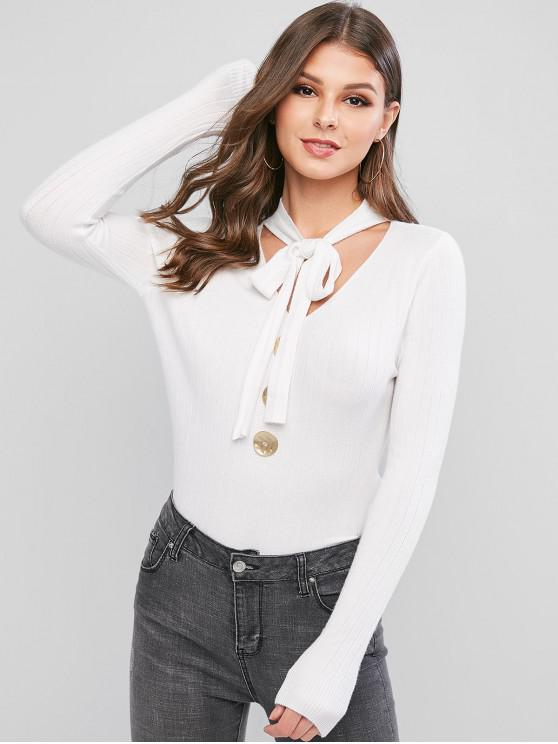 women Bow Tie V Neck Mock Button Sweater - WHITE ONE SIZE