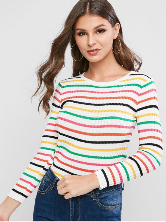 hot Rainbow Striped Ribbed Slim Knitwear - MULTI-A ONE SIZE