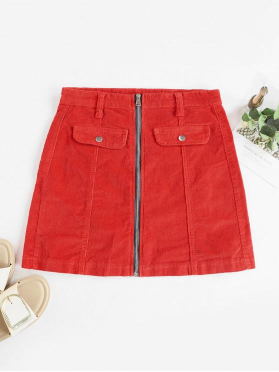 fashion Zip Up Corduroy Mini Skirt - CHESTNUT RED L