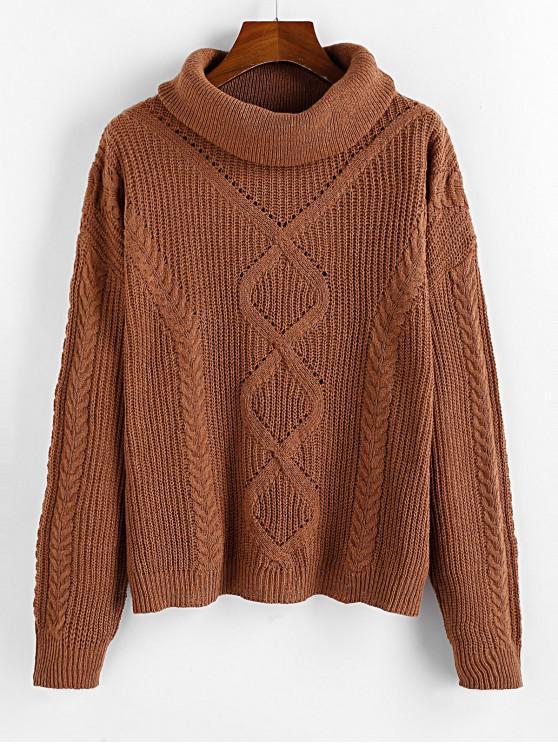 sale ZAFUL Turtleneck Openwork Drop Shoulder Sweater - WOOD M