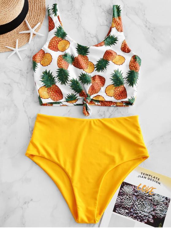 shop ZAFUL Pineapple Knotted High Cut Tankini Swimsuit - BRIGHT YELLOW M