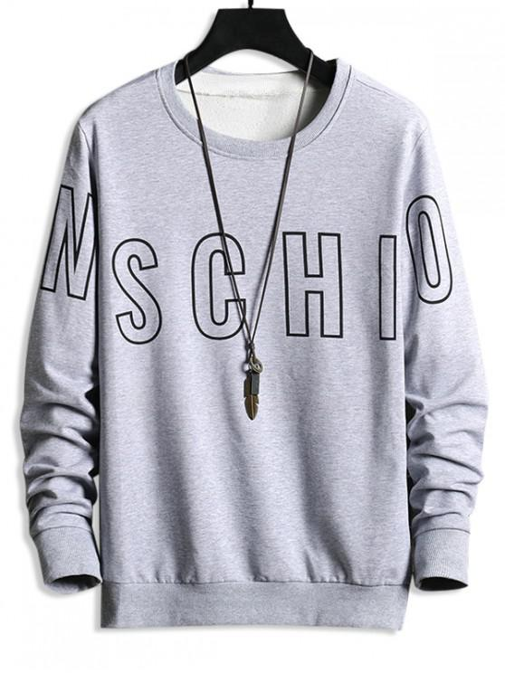 latest Letter Print Graphic Basic Sweatshirt - GRAY GOOSE M