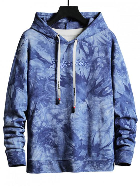 outfit Letter Embroidered Casual Drawstring Hoodie - BLUEBERRY BLUE M