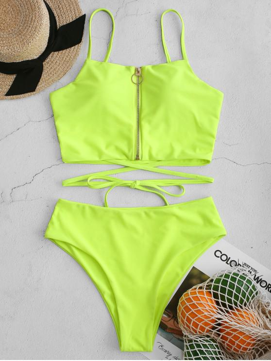 hot ZAFUL Neon Pull Ring Zip High Cut Tankini Swimsuit - GREEN YELLOW L