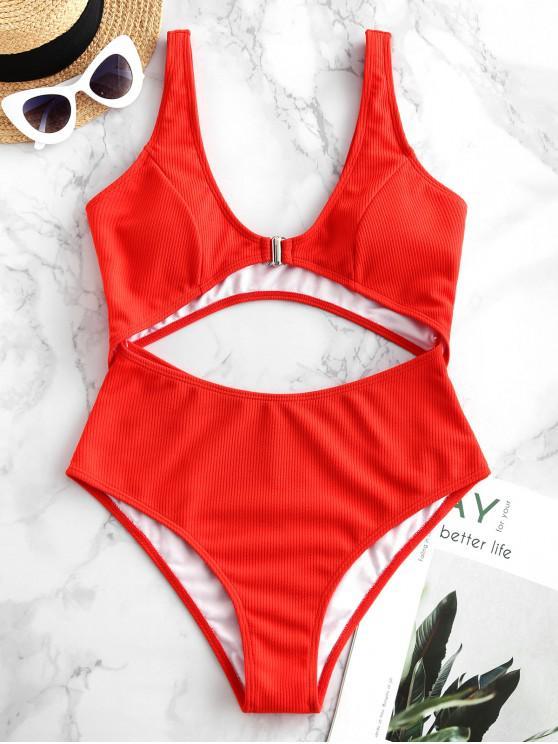 ZAFUL recorte com nervuras elevado da ascensão de uma peça Swimsuit - Vermelho XL