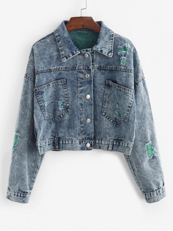 fancy Button Front Distressed Pockets Denim Jacket - DENIM BLUE M