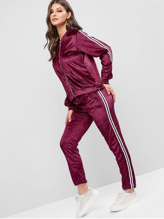 latest Striped Taped Hooded Velvet Pocket Two Piece Sweatsuit Set - RED WINE L