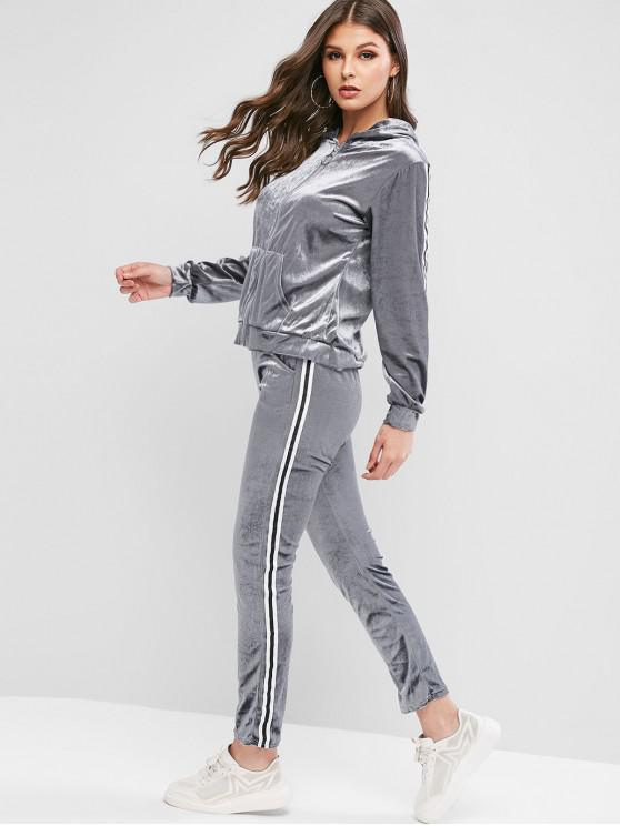 lady Striped Taped Hooded Velvet Pocket Two Piece Sweatsuit Set - BLUE GRAY L