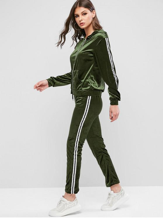 Striped gluga de catifea cu bandă adezivă de buzunar două bucata Sweatsuit Set - Armata verde L
