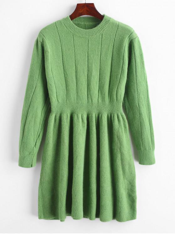 latest Crew Neck Mini Sweater Dress - GREEN ONE SIZE