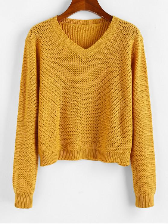 latest ZAFUL V Neck Plain Jumper Sweater - BEE YELLOW L