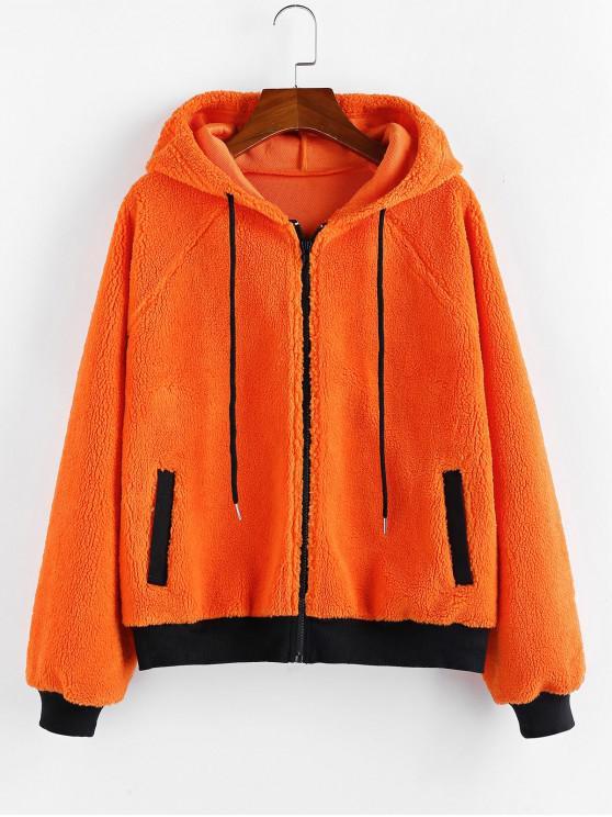 womens ZAFUL Raglan Sleeves Contrast Hooded Teddy Jacket - HALLOWEEN ORANGE S