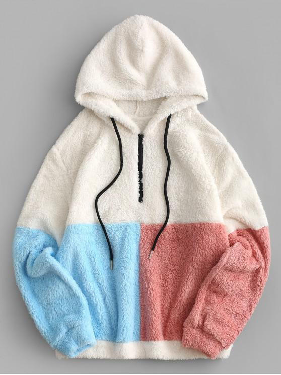 chic ZAFUL Colorblock Quarter Zip Teddy Hoodie - MULTI-A S