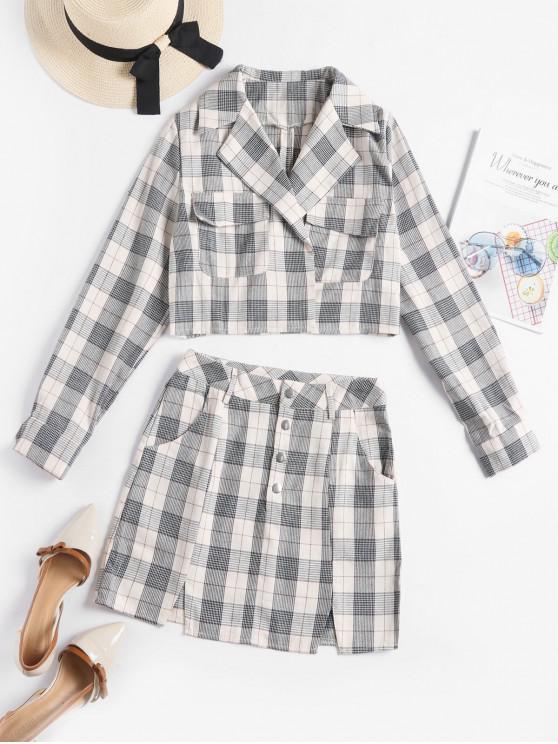 lady Plaid Lapel Pocket Jacket and Button Fly Slit Skirt Set - WARM WHITE S