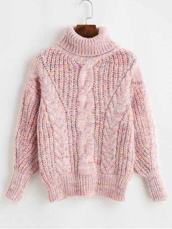 sale Heathered Turtleneck Cable Knit Pullover Sweater - MULTI-B ONE SIZE