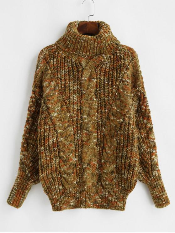 hot Heathered Turtleneck Cable Knit Pullover Sweater - MULTI-C ONE SIZE