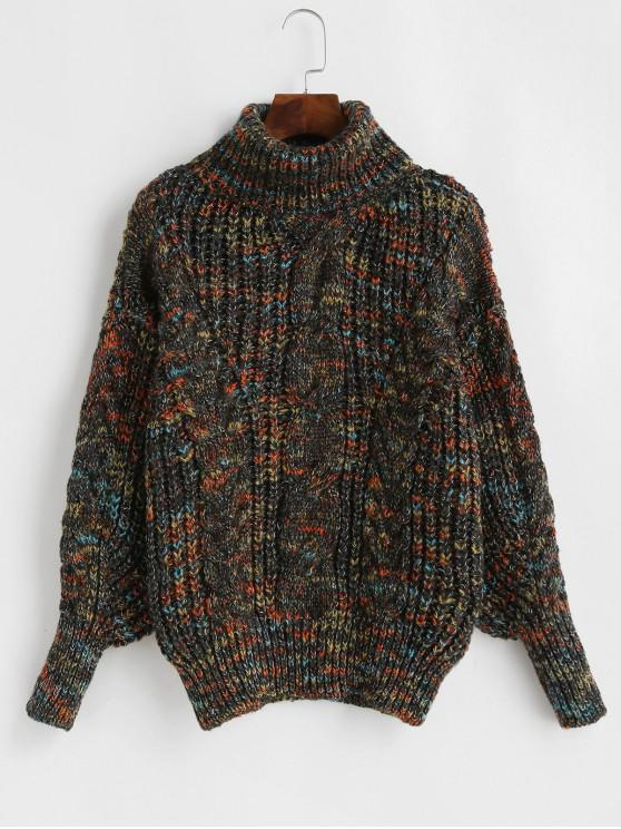 womens Heathered Turtleneck Cable Knit Pullover Sweater - MULTI-D ONE SIZE