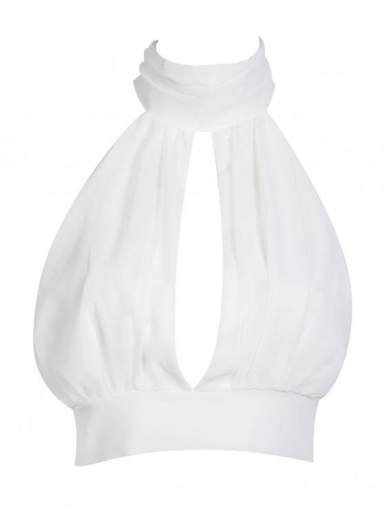 women Tie Back Cut Out Lace Trim Crop Top - WHITE M