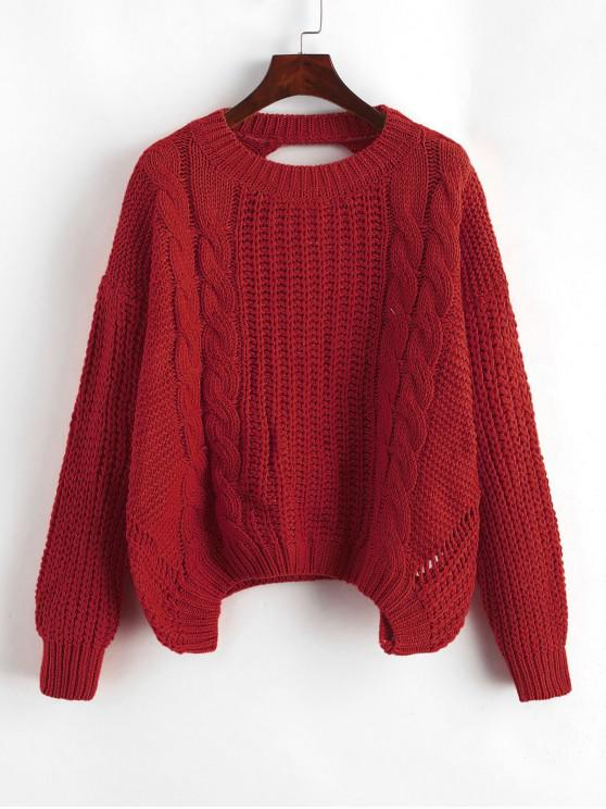 sale Drop Shoulder Cable Knit Cut Out Back Sweater - RED ONE SIZE