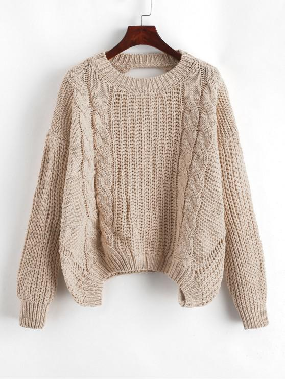 trendy Drop Shoulder Cable Knit Cut Out Back Sweater - TAN ONE SIZE
