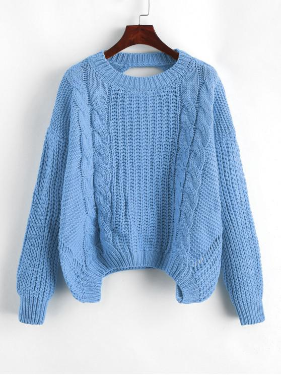 latest Drop Shoulder Cable Knit Cut Out Back Sweater - BLUE KOI ONE SIZE