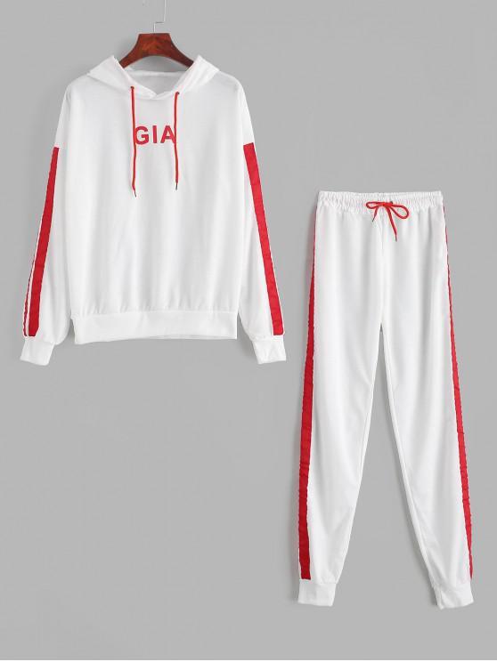 sale Contrast Striped Drop Shoulder Hooded Two Piece Sweatsuit - WHITE S