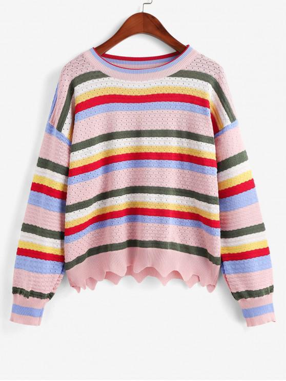 new Zig Zag Hem Stripes Pointelle Knit Crew Neck Sweater - MULTI-A ONE SIZE