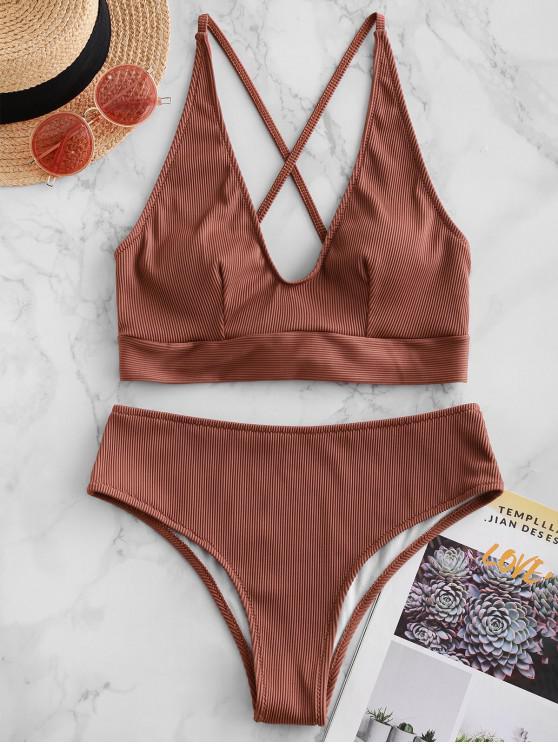 ladies ZAFUL Crisscross Textured Ribbed Bikini Swimsuit - CHOCOLATE S