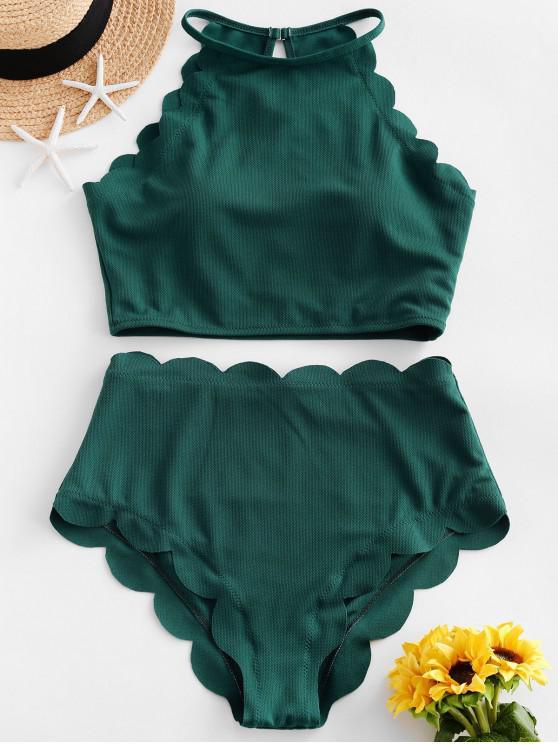 women's ZAFUL Textured Scalloped Tankini Swimsuit - MEDIUM SEA GREEN L