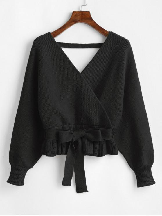 best Plunging Batwing Sleeve Peplum Belted Sweater - BLACK ONE SIZE
