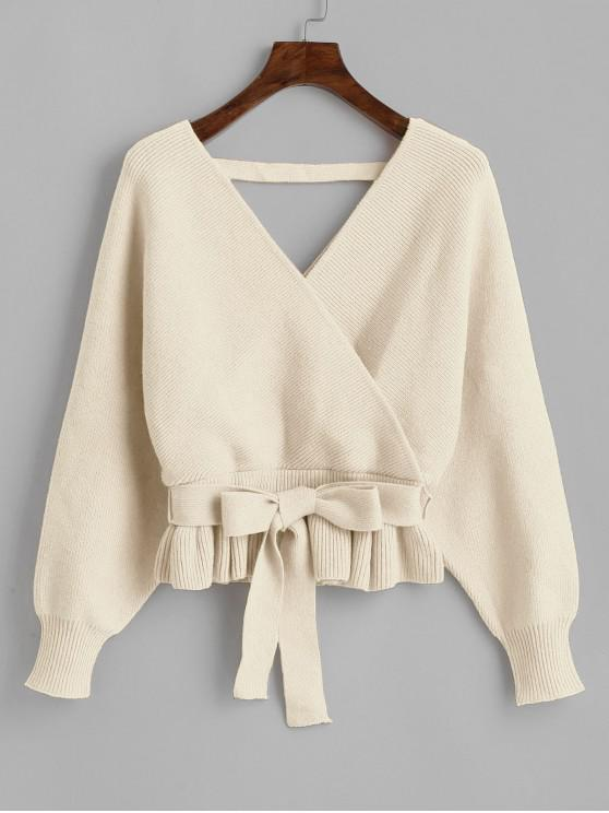 best Plunging Batwing Sleeve Peplum Belted Sweater - APRICOT ONE SIZE