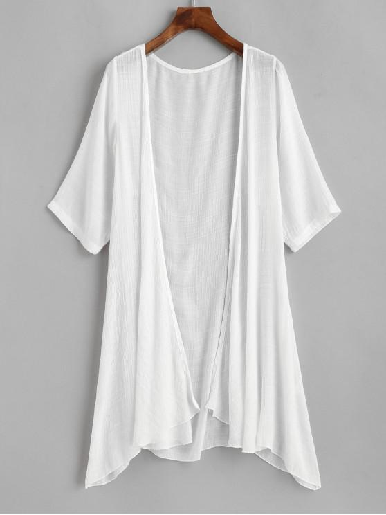 fashion Collarless Open Front Sheer Tunic Beach Cover Up - WHITE ONE SIZE