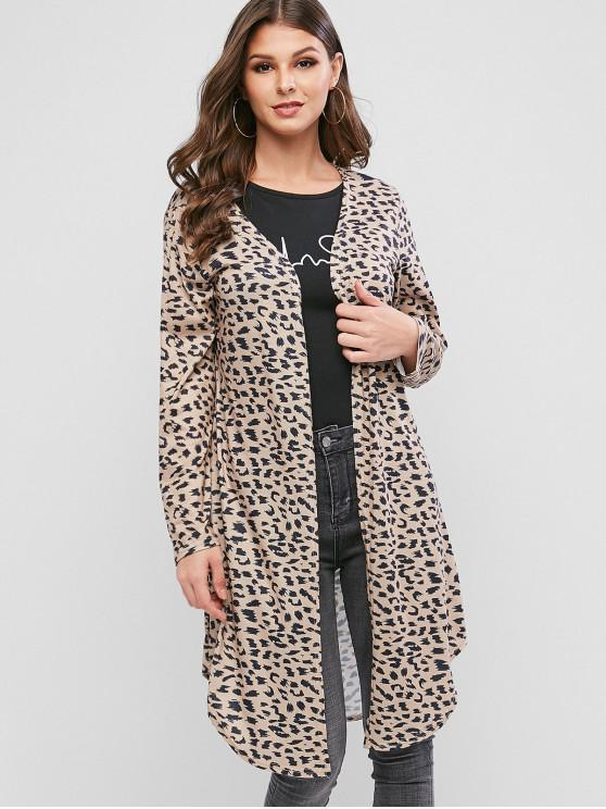 affordable Camo Animal Open Front Collarless Longline Cardigan - TAN XL