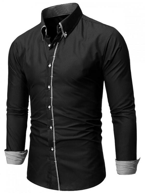 sale Checked Trim Button Up Long Sleeve Shirt - BLACK 2XL