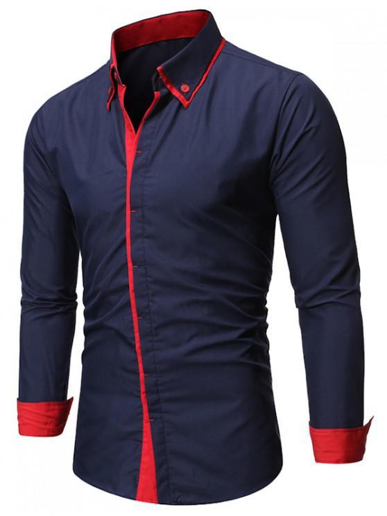 outfit Contrast Trim Casual Button Up Shirt - CADETBLUE 2XL