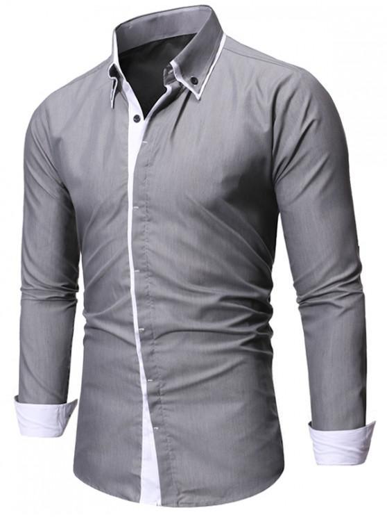 women's Contrast Trim Casual Button Up Shirt - GRAY 2XL
