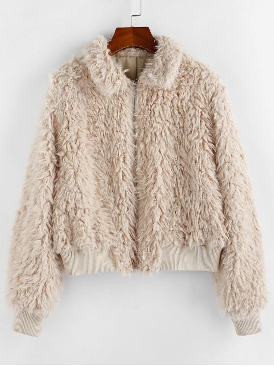 best ZAFUL Faux Shearling Plush Fluffy Zipper Coat - TAN L