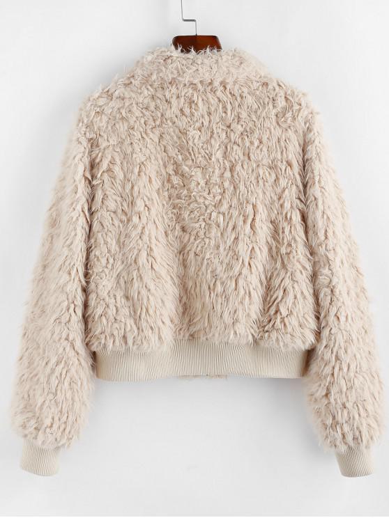ZAFUL Faux Shearling Plush Fluffy Zipper Coat - Tan Xl