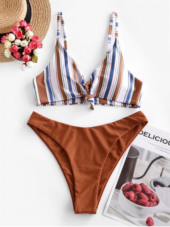 outfits ZAFUL Multi Striped Knot High Leg Bikini Swimsuit - MULTI-A L