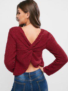 ZAFUL Twist Back Solid Teddy Sweatshirt - Red Wine Xl