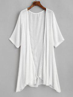 Collarless Open Front Sheer Tunic Beach Cover Up - White
