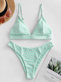 ZAFUL Daisy Print Tie High Leg Bikini Swimsuit - Mint Green M