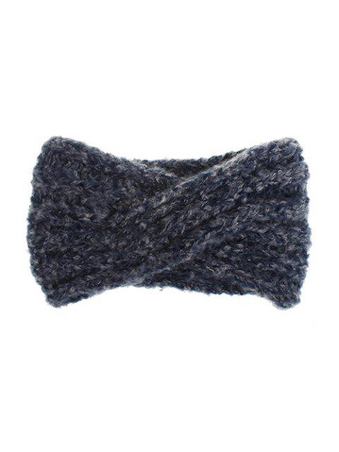 womens Knitted Cross Winter Wide Headband - CADETBLUE  Mobile