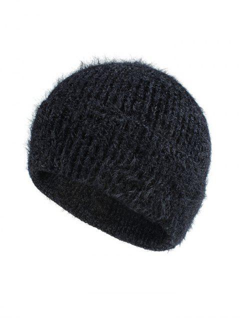 womens Winter Brushy Solid Elastic Hat - BLACK  Mobile