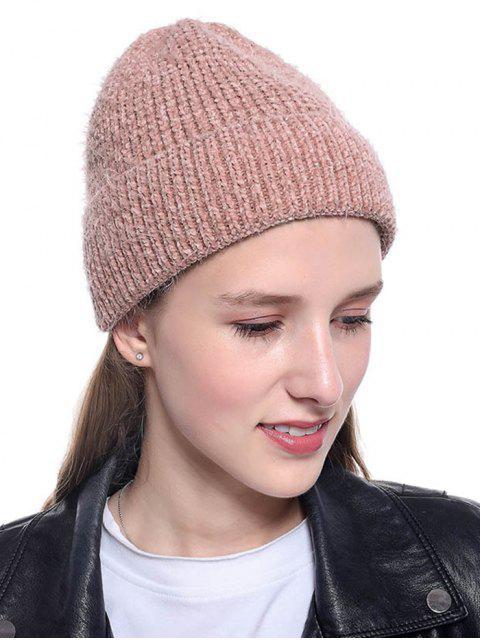 best Winter Brushy Solid Elastic Hat - PINK  Mobile