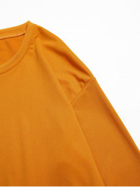 fashion Letter Graphic Print Flap Pocket Crew Neck Sweatshirt - YELLOW XL Mobile