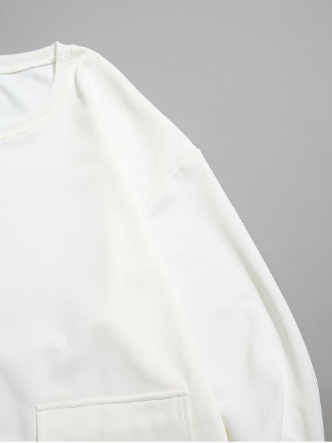 chic Letter Graphic Print Flap Pocket Crew Neck Sweatshirt - WHITE XS Mobile