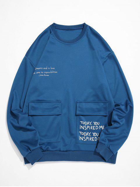 Sweat-shirt Lettre Graphique Imprimée à Col Rond avec Poche à Rabat - Bleu de Soie S Mobile